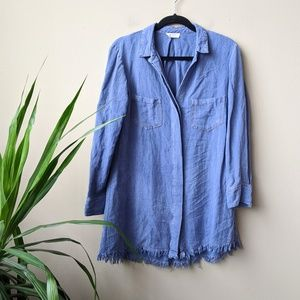 Umgee Chambray Button Down Fringe Hem Tunic Dress